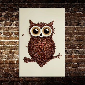 "Modern new idea design""Coffee beans and an owl"" canvas print painting wall art picture for home decorations"