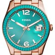 Women's Fossil 'Perfect Boyfriend' Mirrored Bezel Color Dial Bracelet Watch, 39mm