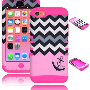 iPhone 5c, 5th Gen Hybrid Anchor Chevron  Case + Hot Pink Silicone Cover