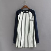 Black And White Stripe Embroidered Long-Sleeve Baseball Shirt