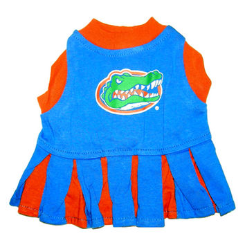 Mirage Pet Products Puppy Dog Cat Costume Florida Gators Sports Team Logo Cheer Leading Uniform XS