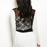 Back Lace Cardigan in Ivory