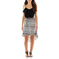 by&by Belted High-Low Print Dress