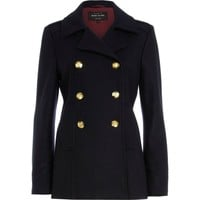 Navy contrast trim pea coat