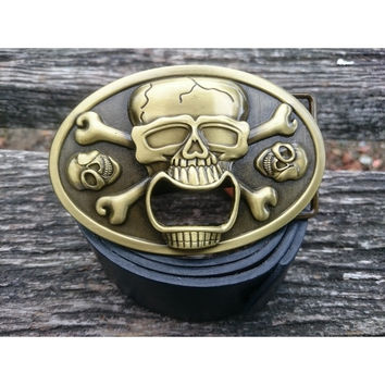 PIRATE CROSSBONES SKELETON SKULL CAN TAB BEER BOTTLE OPENER BELT BUCKLE = 1929686468