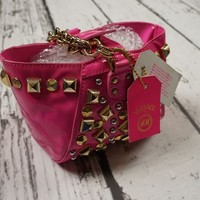 NEW VERSACE H&M BAG TASCHE ROUCH PINK STUDDED HANDBAG PURSE CLUTCH 100%AUTHENTIC