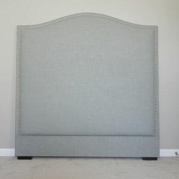 Custom made Upholstered 'Camelback' Headboard in greystone linen - DESIGNER SERIES