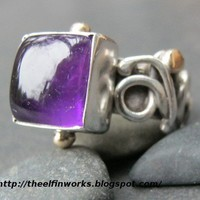 Handmade Sterling Silver Ring with Large Square Deep Purple Amethyst | ElfinWorks - Jewelry on ArtFire