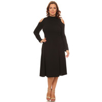Women's Black Open Shoulder Long SleeveFlair Dress Plus Sizes
