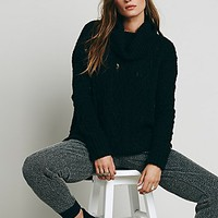 Free People Womens Love Worn Cable Turtleneck