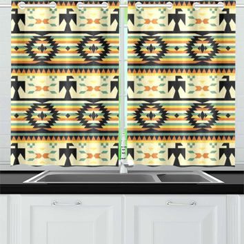 Native American Birds Pattern Kitchen Curtain 26'' X 39''(2 Pieces, 1 Design)