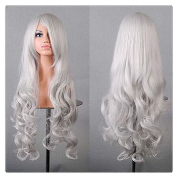 Women New Fashion Women Girl 80cm Wavy Curly Long Hair Full Cosplay Party Sexy Lolita wig  silver grey