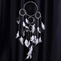 Home Wall Hanging Decoration Traditional Indian Style Dream Catcher with Real Feather Pendant