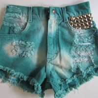 sale- Vintage LEE high waisted shorts destroyed OMBRE tie dye STUDDED cut off jean shorts xs