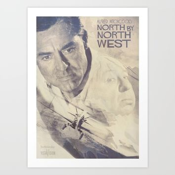 North by Northwest, Alfred Hitchcock, vintage movie poster, Cary Grant, minimalist Art Print by Stefanoreves