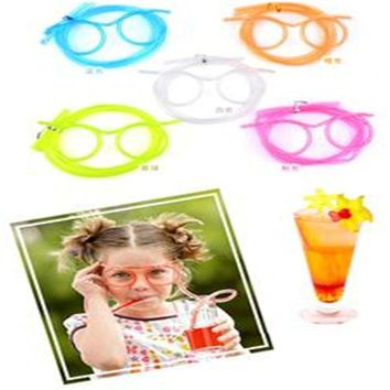 2017 hot sales Kids Children Party Funny interesting Drink Tube Colorful Soft Glasses Straw Unique