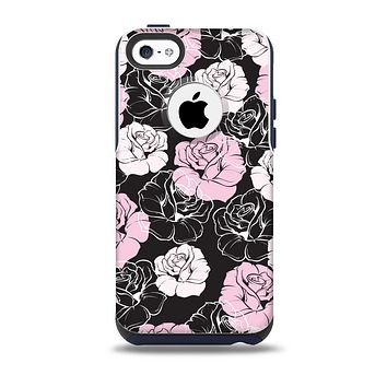 The Pink and Black Rose Pattern V3 Skin for the iPhone 5c OtterBox Commuter Case