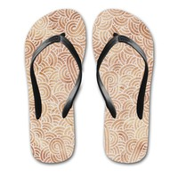 'Iced coffee and white swirls doodles' Flip Flops by Savousepate on miPic