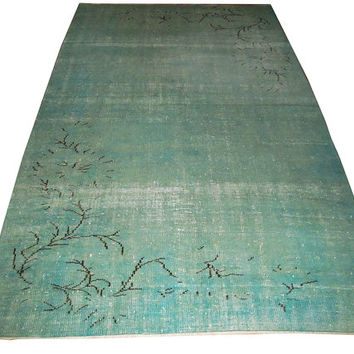 Sale Aqua Green Color Overdyed Handmade Rug With Allover Design 8'11'' x 5'6'' feet