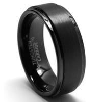 8MM Black High Polish / Matte Finish Men's Tungsten Ring Wedding Band | AihaZone Store