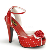 Pinup Couture Bettie Red Polka Dot Ankle Strap Sandal