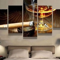 Cigar & Drink Art 5 Panel Canvas for ManCave