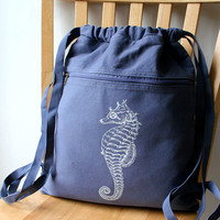 Seahorse Backpack Canvas Screen Printed by catbirdcreatures
