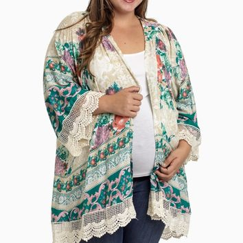 Mint-Green-Floral-Lace-Plus-Size-Maternity-Cardigan