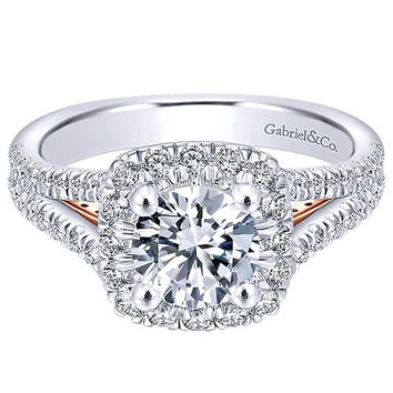 "Gabriel ""Layla"" 14K White Gold Cushion Halo Diamond Engagement Ring"