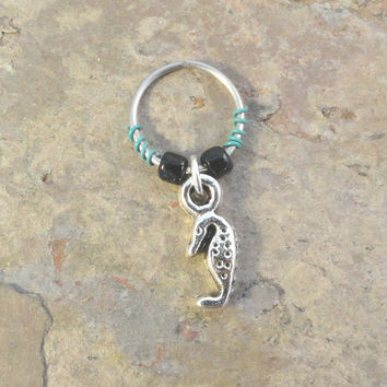 Seahorse Beaded Cartilage Hoop Earring - You Choose Colors