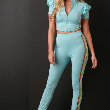 Side Stripes Zip-Up Crop Top with High Rise Leggings
