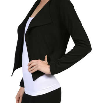 Long Sleeve Cropped Open Front Blazer