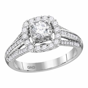 14kt White Gold Women's Round Diamond Solitaire Halo Bridal Wedding Engagement Ring 1.00 Cttw - FREE Shipping (USA/CAN)