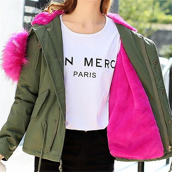 Women Parka Jacket Fur Collar Military Army Green Coat With Fur Hood Winter 2017 Faux Pink Fur Inside Warm Outerwear