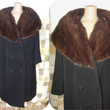 Vintage 50s 60s Mink Stole Fur Collar Swing Coat Winter Gabardine Jacket XL 1X WM Devitz Plus Size
