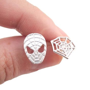 Spider-Man and Web Shaped Stud Earrings in Silver | Marvel Super Heroes