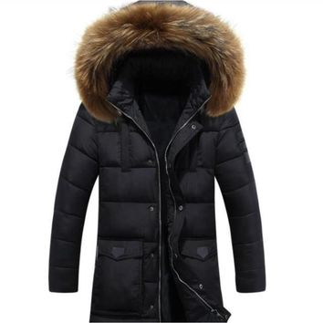 Mens Military Style Winter Faux Fur Hooded Coat in Classic Black