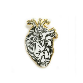 White Heart Pin