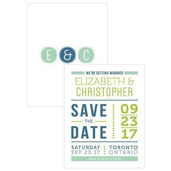 Smart Type Save The Date Card Daiquiri Green (Pack of 1)