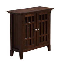 Solid Wood Low Storage Cabinet Home Furniture Dark Tobacco Brown Finish