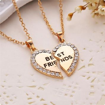 LASPERAL 2PCs/Set Fashion Split Half Heart Rhinestone BEST FRIENDS Pendant Long Necklace Fashion Jewelry For Women Girl Friends