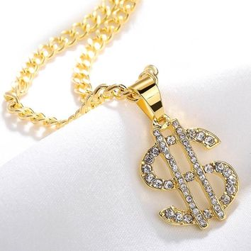 Mens Miami Chain USA US Dollar Symbol Pendant Necklace Gold Color Hip Hop Nightclub Exaggerated Rhinestones Necklace Jewelry