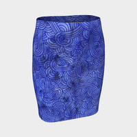 Royal blue swirls doodles Fitted Skirt Fitted Skirt