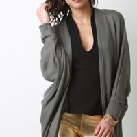 Loose Knit Open Front Dolman Sleeves Cardigan