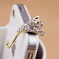 1pcs of Crystal  Lovely Leopard Earphone Cap Dust Plug Koala Dust Plug Lean on iPhone 4 & 4S Headphone 3.5mm
