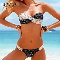 WEIXIA 2018 Bikinis Women Swimsuit Summer QHK1842 80 1459 Beach Wear Bikini Set Push Up Swimwear Bandage Bathing Suit