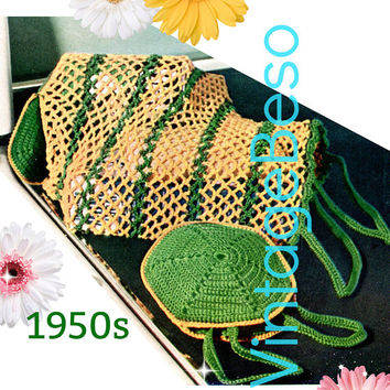 DIGITAL PATTERN • Shopping Bag Crochet Pattern • Interesting Collapsable Bag from 1950s • Vintage Grocery • PdF Pattern • Retro