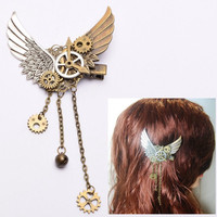 1pc Girls Steampunk Gears Wings Hair Clip Goth Punk Vintage Lolita Lady Headwear hair accessories