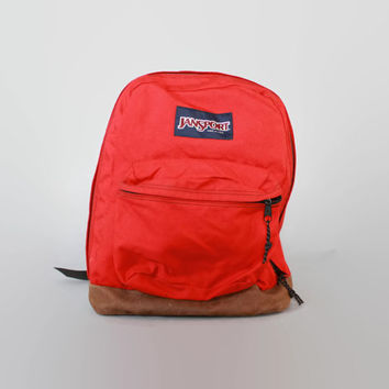 Vintage JANSPORT BACKPACK / RED Canvas & Leather Bottom School Bag Daypack