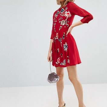 ASOS PREMIUM Mini Skater Dress with Floral Embroidery at asos.com